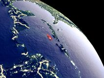 Jamaica from space. Jamaica at night from orbit. Plastic planet surface with visible city lights. 3D illustration. Elements of this image furnished by NASA stock illustration