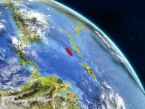 Jamaica from space. On realistic model of planet Earth with country borders and detailed planet surface and clouds. 3D illustration. Elements of this image vector illustration