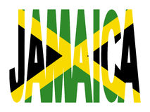 Jamaica text with flag stock illustration