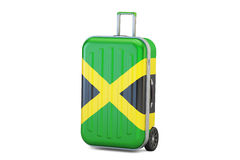 Jamaica travel concept, suitcase with flag. 3D rendering. Jamaica travel concept, suitcase with flag Stock Image