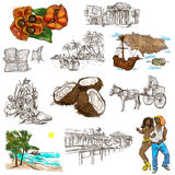 Jamaica Travel - Full sized hand drawn pack on white. Travel series: JAMAICA - Collection (no.5) of an hand drawn illustrations. Description: Full sized hand Royalty Free Stock Image
