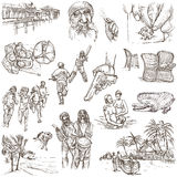 Jamaica Travel - Full sized hand drawn pack on white Royalty Free Stock Photos