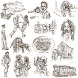 Jamaica Travel - Full sized hand drawn pack on white Stock Images