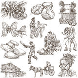 Jamaica Travel - Full sized hand drawn pack on white Stock Photos