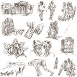 Jamaica Travel - Full sized hand drawn pack on white. Travel series: JAMAICA - Collection (no.2) of an hand drawn illustrations. Description: Full sized hand Royalty Free Stock Images