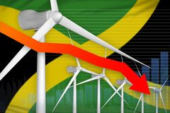 Jamaica wind energy power lowering chart, arrow down - green natural energy industrial illustration. 3D Illustration. Jamaica wind energy power lowering chart vector illustration