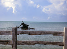 Jamaica. The wreck at the embankment of the small city Royalty Free Stock Photography