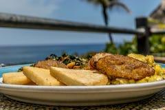 Jamaican breakfast of bammy, plantain, ackee and sailfish, callaloo stock image