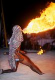 Jamaican Firebreather. This is a shot from a Jamaican beach party of a daredevil who breaths fire stock photo