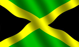 Jamaican flag. Flag of Jamaica with waving effect Stock Photography