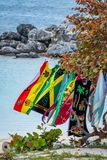 Jamaican flag and colors, and Rastafarian colors. On beach towels in Montego Bay Jamaica stock image