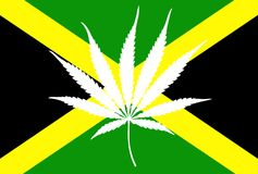 Jamaican flag marijuana leaf Stock Images