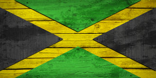 Jamaican flag painted on wooden boards Stock Photo