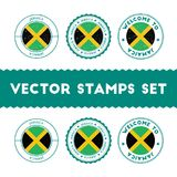 Jamaican flag rubber stamps set. National flags grunge stamps. Country round badges collection Royalty Free Stock Photography