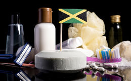 Jamaican flag in the soap with all the products for the people h. Ygiene royalty free stock images