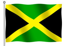 Jamaican Flag waving. (With clipping path stock illustration