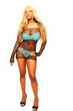 Jamaican girl in turquoise underwear.. Royalty Free Stock Photos