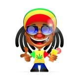 Jamaican guy illustration. Rasta Cap with dreadlocks on white background. Spliff smoking drug cannabis. Jamaican Hat Stock Photo