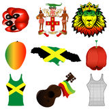 Jamaican Icons. Vector Illustration of 9 different Jamaican icons Stock Photography