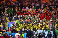 Jamaican Olympic Team marched into the Rio 2016 Olympics opening ceremony at Maracana Stadium in Rio de Janeiro Royalty Free Stock Photos