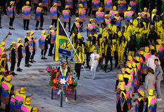 Jamaican Olympic Team marched into the Rio 2016 Olympics opening ceremony at Maracana Stadium in Rio de Janeiro. RIO DE JANEIRO, BRAZIL - AUGUST 5, 2016 Stock Image