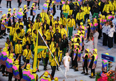 Jamaican Olympic Team marched into the Rio 2016 Olympics opening ceremony at Maracana Stadium in Rio de Janeiro Royalty Free Stock Photo
