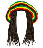Jamaican rasta hat.Hair dreadlocks.reggae .funny avatar Stock Photography