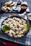 Caribbean Rice and Red Beans, top view. Jamaican Rice and Red Beans cooked with coconut milk seasoned with garlic, onions and creole spice in a bowl with royalty free stock image