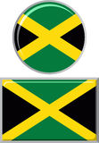 Jamaican round and square icon flag. Vector Royalty Free Stock Photos