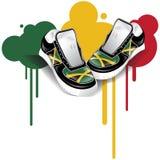 Jamaican Sneakers. Jamaican flag sneakers and graffiti Stock Photo