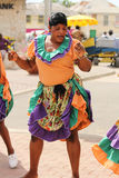 Jamaican Street Performer. FALMOUTH, JAMAICA, MAY 11: An unidentified street performer dancing outside the port of Falmouth on MAY 11, 2011 in Jamaica ahead of Stock Photos