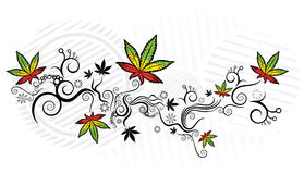 Jamaican style marijuana leaf texture background  illustration Royalty Free Stock Images