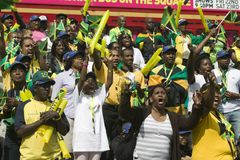 Jamaicans celebrate victory of 4x100m relay team. 22 August 2008, In London's Trafalgar Square, hundreds of athletic mad Jamaica fans celebrate the victory of royalty free stock photos
