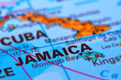 Jamaika auf der Karte lizenzfreie stockfotos
