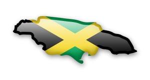 Jamaika-Flagge und Kontur des Landes Stock Abbildung