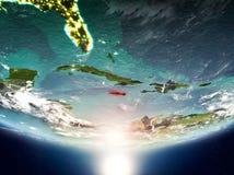 Jamaika mit Sonne auf Planet Erde Lizenzfreies Stockfoto