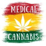 Jamaikanische Flaggenfarben des medizinischen Blattes des Hanfs weißen Lizenzfreie Stockfotos