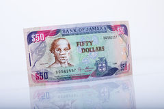 Jamajski pięćdziesiąt dolarów banknot, odbicie Fotografia Stock