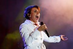 Jamala sångare, på konserten för Vinnytsia stadsdag Royaltyfria Bilder