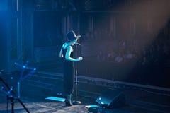 Jamala at solo concert at Lviv Opera House. LVIV, UKRAINE - March 31, 2015: Ukrainian singer Jamala at solo concert at Lviv Opera House. Jamal won 61st annual Royalty Free Stock Image
