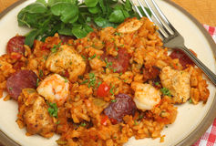 Jambalaya with Chicken and Shrimps. Jambalaya with chicken, shrimp and pepperoni sausage Royalty Free Stock Photo