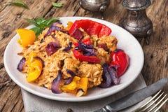 Jambalaya français avec le poulet et le riz images libres de droits