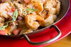 Jambalaya. Spicy jambalaya made with sausage and shrimp Royalty Free Stock Images