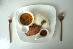 Jambe cuite à la friteuse de canard avec la portion thaïlandaise de cari de rouge de style avec du riz blanc photographie stock