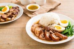 Jambe cuite de porc avec du riz Image stock