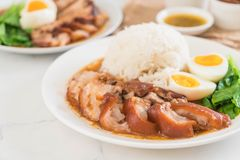 Jambe cuite de porc avec du riz Photo libre de droits