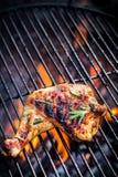 Jambe de poulet grillée avec le romarin Images libres de droits