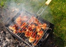 Jambe de poulet grillée marinée Photos stock