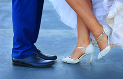 Jambe des couples de mariage Images libres de droits