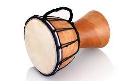 Jambe Drum - horizontal profile. Balinese gamelan making mahogany wood drum Stock Photography